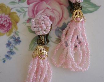 Vintage Pink Sead Bead Clip On Drop Earrings