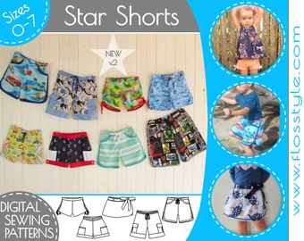STAR SHORTS 5 in 1 PDF sewing pattern 5 styles w. interchangable waistbands + extras! surfer, hunter, skorts, scooter & garden fit 6m - 7y