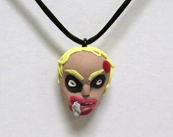 OOAK Handmade Zombie Walking Dead Pendant Necklace 15 Undead Halloween Creepy Scary