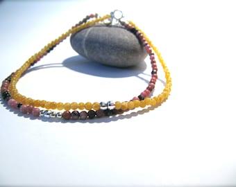 Arke and Iris: rhodonite and iron oxide quartz bracelet duo