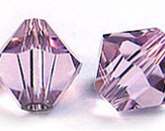 25 Light Amethyst~6 mm Xillion Bicone (5328) Genuine Swarovski crystals