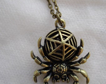 Bronze spider necklace, pendant, Aracnid necklace.