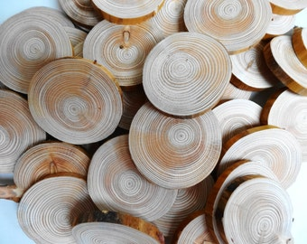 """2""""-2.5"""" Wood Slices, Tree Slices, Wood Circles, Woodworking, Craft Supplie, Wedding Decor, Tags, Set of 20"""