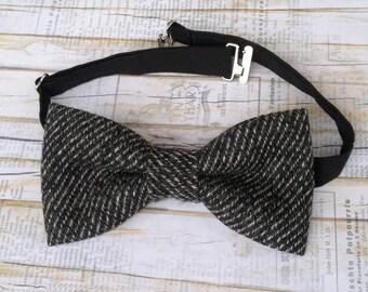 Mens wool bow tie - tweed wool bow tie - grey handmade gift for him Party Grooms Wedding