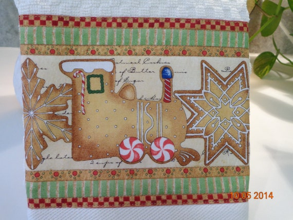 Items similar to christmas cookie train kitchen towel for Train themed fabric
