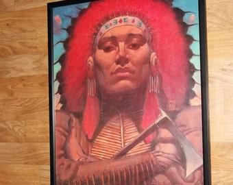 indians print - 20''x16'' framed indian wall art, indians wall art