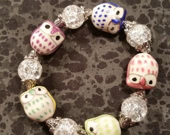 Ceramic Owl Bead Stretch Bracelet