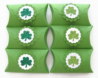 St. Patrick's Day Favors,Pillow Boxes ,Treat Boxes, Favor Boxes, Clover, Spring Celebration, Party Favors