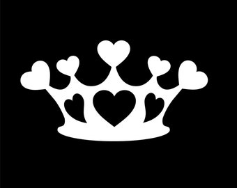 "CROWN with HEARTS pretty princess 5"" Vinyl Decal Widow Sticker for Car, Truck, Motorcycle, Laptop, Ipad, Window, Wall, ETC"