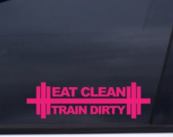 "Eat Clean Train Dirty -  iwod gym rat 7"" Vinyl Decal Window Sticker for Car, Truck, Motorcycle, Laptop, Ipad, Window, Wall, ETC"