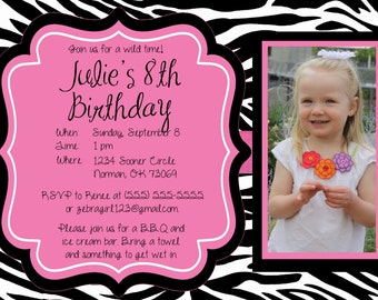 20% OFF!!  Custom, Personalized Hot Pink Zebra Birthday Invitation