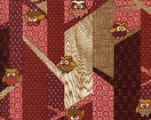 Red Owl Fabric Japanese Owl Cotton Quilting Fabric by the half yard KW-1312-1B