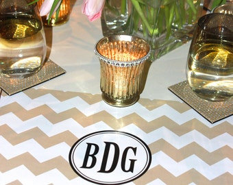 Customized Paper Placemat PACKAGE -  Chevron pattern personalized paper placemats with a monogram or names