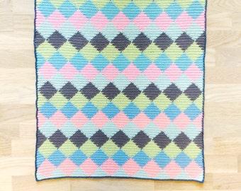 Crochet harlequin baby blanket SALE