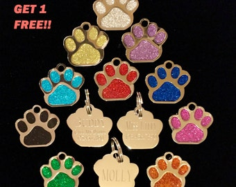 Glitter Paw Print Pet Id Tag Custom Engraved Dog Cat Personalized Animal Shelter Bling Identification BUY 3 GET 1 FREE