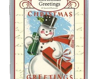 Cavallini Papers & Co. Vintage Snowman Christmas Glitter Greetings, 12 Assorted Postcards