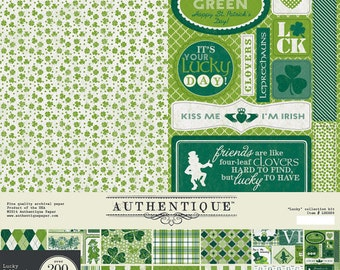 "AUTHENTIQUE Lucky 12"" X 12"" Collection Kit, 12 Double-sided Papers with Die-Cuts and Alphabet Stickers, St. Patrick's Day Scrapbook"