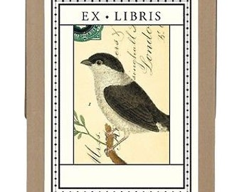 Cavallini & Co. Ex Libris Black and White Bird, 18 Bookplates