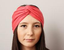 Twisted headband CORAL ,womanTurban Headban,  ,gypsy turban, yoga headbeand,ear warmer , extra wide