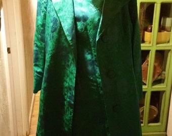 SALE Asian Oriental Waldorf 2 PC Damask Asian Glam Cottage Chic Evening Sheath Shift Dress Brocade Opera Jacket Suit Set