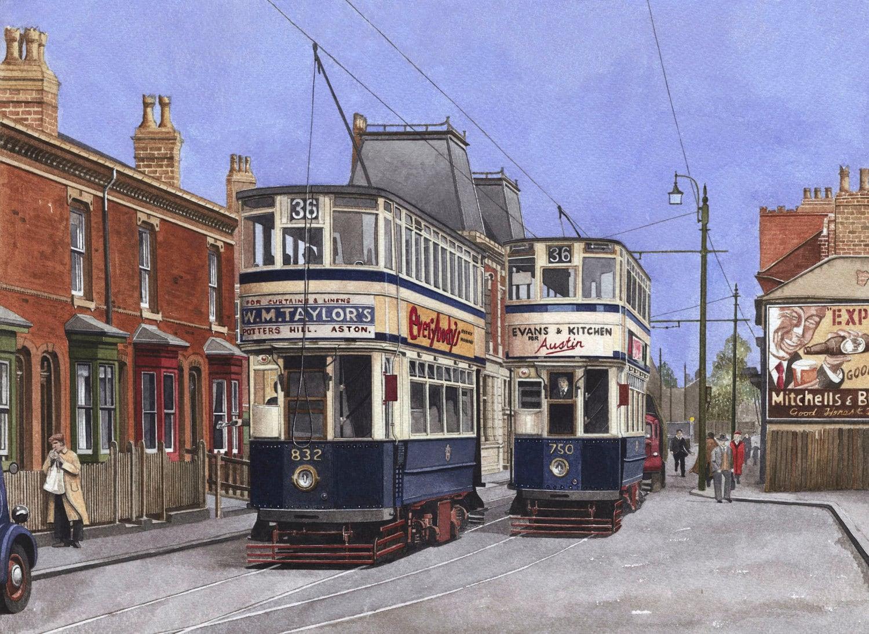birmingham trams nos 750 832 on pershore road in front of. Black Bedroom Furniture Sets. Home Design Ideas