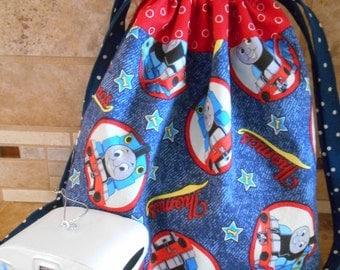 Lined Drawstring Bag with Thomas the Train Print