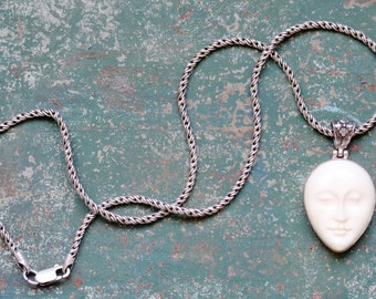 Sterling Silver Moon Face Necklace
