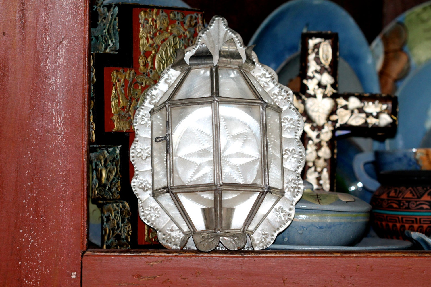 Vintage Mexican Tin & Glass Candle Wall Sconce