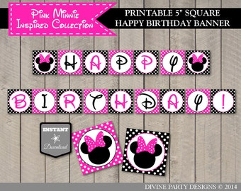INSTANT DOWNLOAD Hot Pink Mouse Happy Birthday Printable Party Banner / Hot Pink Minnie Collection / Item #1726