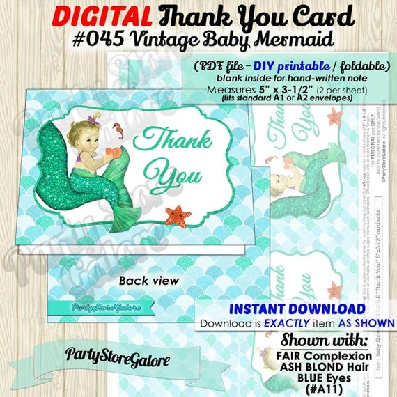 Vintage Baby Shower Thank You Cards: Vintage Baby Mermaid Baby Shower DIY Printable Foldable