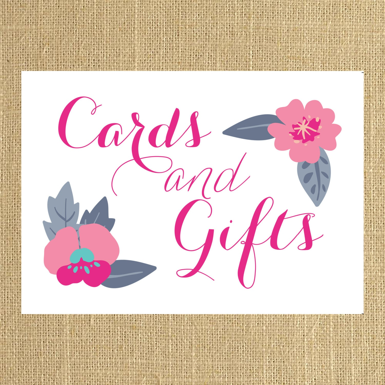 Card Sign Gift Table Sign