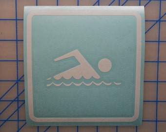 Swimming Decal - 2 Sizes - 16 Colors FREE SHIPPING!!!
