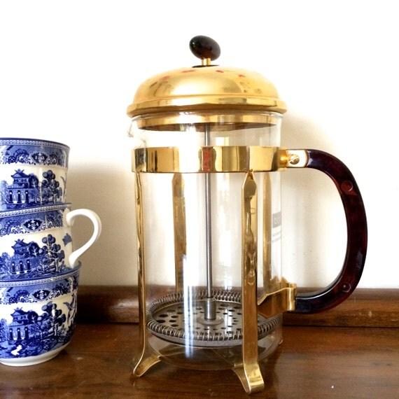 1980s Bodum Chambord Large French Press Coffee Maker Gold