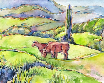 Cows painting watercolor - cows green hills mountains landscape, watercolor on paper