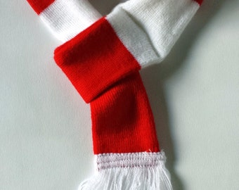 Dog scarf - red and white stripe