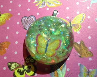 Butterfly Domed Glitter Resin Pendant