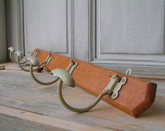 French vintage mid century wood and metal coat hooks. Pale mint green. 4 hooks. Coat hooks. Loft. Industrial