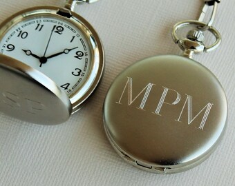 Personalized Pocket Watch, Groomsmen Gift, Mens Pocket Watch, Groomsmen Pocket Watch, Pocket Watches for Men, Silver Pocket Watch