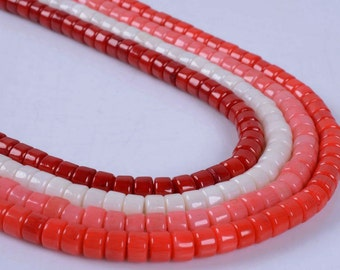 6mm Colored coral heishi rondelle spacer beads full strand 15.5""