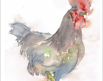 Aceo Print, Rooster Cockerel Portrait. From an Original Painting by LESLEY SILVER. Personally signed. LRO001AC