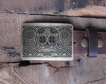 Belt Buckle DAY of the DEAD Dia de los Muertos- Brass Copper Nickel Silver