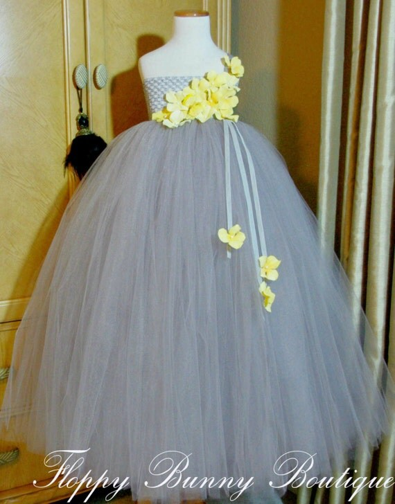 Yellow And Silver Wedding Dresses : Gray and yellow tutu dress flower girl by floppybunnyboutique