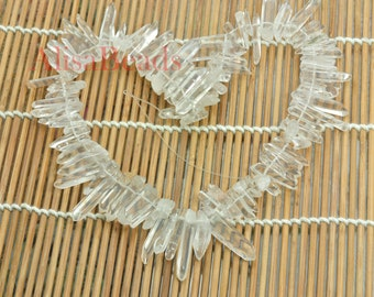 Natural Clear White Rock Crystal, Quartz Point,Dagger gemstone,raw mineral drusy rock, Spike beads,15.5 inches