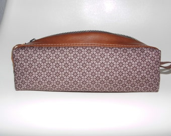 MINIMAL brown cosmetic-bag, pencil-case cotton/leahter lined with waxed cotton