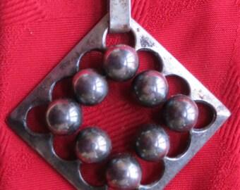 Modernist Original 1950's Erik Granit Finland Sterling Silver Necklace Pendant - Free Shipping
