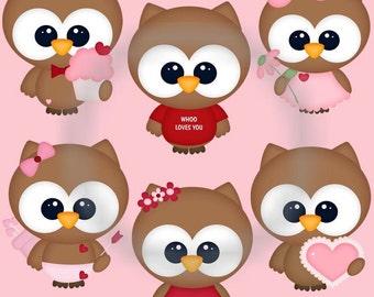 DIGITAL SCRAPBOOKING CLIPART - Valentines Owls