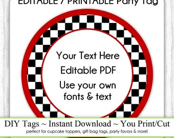 Instant Download - Party Printable Tag, EDITABLE Race Car Party Tag, Checkered Party Tag, Blank DIY Cupcake Topper, You Print, You Cut