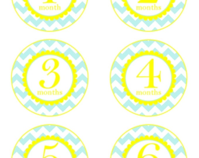 Instant Download - Baby Month to Month Stickers, Monthly Birthday Stickers for Baby, Chevron Photo Prop Birthday Stickers, Aqua and Yellow