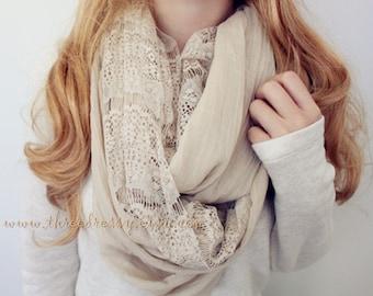 Khaki Lace Infinity Scarfcarf Fashion Accessory Holiday Gift
