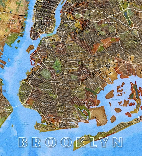 Labeled Brooklyn Map 2 Labeled Brooklyn Watercolor Map 2
